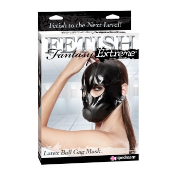 Mascara Latex Ball Gag Mask - PipeDream